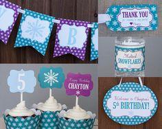 Snowflake Birthday Party Decorations Printable - Winter Wonderland Birthday - Winter Onederland Birt