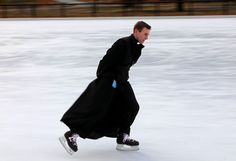 Fr. Canon Jean-Baptiste Commins, a French priest who ice skates in his cassock, because he can. And he lives in St. Louis now!!!