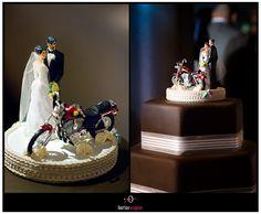 Motorcycle Cake Topper On Wedding Borterwagner Photography