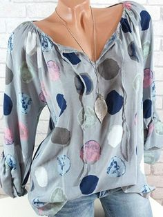 5c4ea4cd7d13 Women Polka Dots V-neck Long Sleeve Shirts Fashion Wear