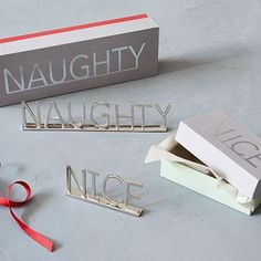 Brass Word Objects - Nice   Naughty #westelm