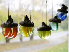 FIVE Acorn Vintage Glass Marble Ornaments for Christmas Fall Sun Catcher German Tradition Graduation New Beginnings Wedding