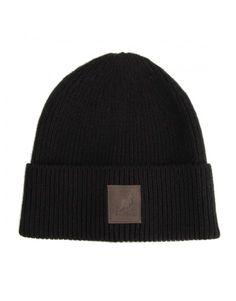 - caciula neagra Kangol Patch, unisex - tricotata fin - margine rasucita - personalizata cu logo