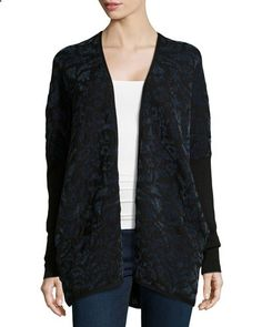 Lafayette 148 New York:Jacquard Knit Open Cardigan, Mallard $299.00