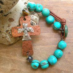 Southwestern cross bracelet, turquoise from 3DivasStudio