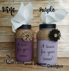 Hand Painted A Tissue for Your Issue Mason Jar Tissue Holder, Rustic Mason Jar Kleenex Holder, Painted Tissue Jar – DIY Crafts Mason Jar Projects, Mason Jar Crafts, Mason Jar Diy, Crafts With Mason Jars, Glitter Mason Jars, Chalk Paint Mason Jars, Painted Mason Jars, Mason Jar Chalkboard, Diy Home Decor Projects