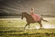 Senior picture with horse and prom dress