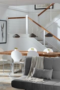 Shown in this dining room, the modern Brummel pendant light by Tech Lighting has clean, sharp lines that harmonize with the soft, matte finish of its mid-century inspired spun metal lighting shade. Home Office Lighting, Dining Room Lighting, Home Office Decor, Home Decor, Home Bedroom, Modern Bedroom, Country Cupboard, Contemporary Light Fixtures, Home Remodeling Diy