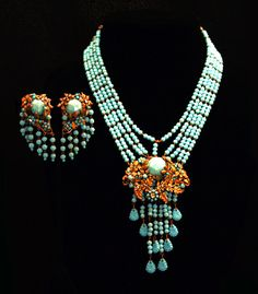 Antique Early Miriam Haskell Vintage Necklace Earrings Set Turquoise Blue Gilded Gilt Brass Vintage Necklace Jewelry Jewellery 1930s 30s $2,800.00