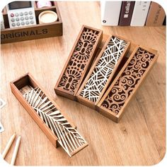 - South Korea creative stationery lace hollow wooden pencil case, pencil box multifunction students - Three trees home supplies stores Laser Cutter Ideas, Laser Cutter Projects, Cnc Projects, Wooden Pencil Box, Pencil Boxes, Wood Crafts, Diy And Crafts, Gravure Laser, Diy Holz
