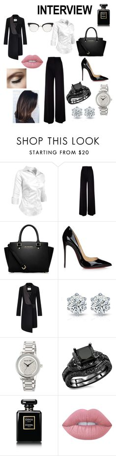 """Interview: go for it!"" by agu-bernardez ❤ liked on Polyvore featuring MaxMara, MICHAEL Michael Kors, Christian Louboutin, Chanel, Lime Crime, Thom Browne, jobinterview and 60secondstyle"