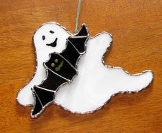 Stained Glass Suncatcher - Halloween Spooky Ghost and Bat, BOO