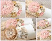 Bridal Clutch in Champagne, Ivory and Blush Pink with Peacock Feathers, Crystals and Brooch. $135.00, via Etsy.
