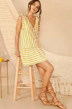 Cute Yellow Striped Knot Strap Button Front Smock Summer Mini Dress. Yellow Striped Sleeveless Button Front Smock Short Summer Dress Women's.    #summerfashion  #summerstyle #summervibes  #fashionstyle Mini Dress With Sleeves, Long Sleeve Mini Dress, Short Sleeve Dresses, Short Summer Dresses, Summer Dresses For Women, Plus Size Sweater Dress, Yellow Stripes, Linen Dresses, Summer Trends