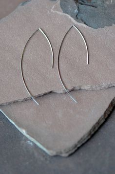 Silver Earrings, Long Dangling Wire, Modern,Sterling Silver on Etsy, $42.00