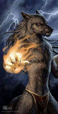 Werewolf Mage by azany Fantasy Wolf, Dark Fantasy, Fantasy Art, Fantasy Creatures, Mythical Creatures, Character Portraits, Character Art, Arte Steampunk, Werewolf Art