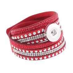 7colors 2016 new arrival women's multi-layer crystal rivet leather 18/20mm metal snap button bracelet DIY jewelry 40 cm ZE177
