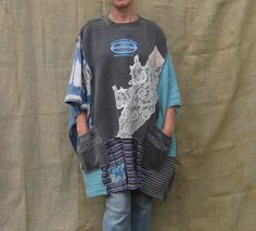 Kaftan or Poncho, one size fits most, upcycled sweatshirt and cotton sweaters