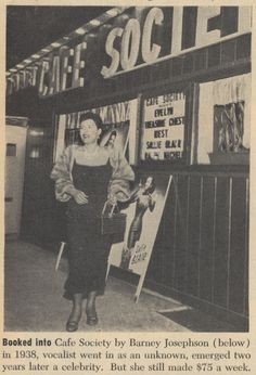 Billie Holiday in front of Cafe Society