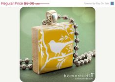 yellow Aviary bird Scrabble tile necklace pendant by HomeStudio on Etsy