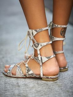 Schutz Lina Lace Up Sandal at Free People Clothing Boutique
