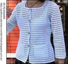 Saco blanco crochet casitas