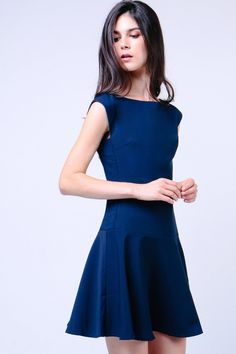 Drop Waist Dress (Navy)