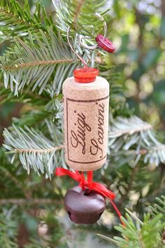 I want to do this! We can drink a bottle of wine for xmas and make an ornament out of it =) our first xmas in our first home together =) one day when we stay home for Xmas!!