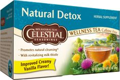 Detox tea, has echinacea, red clover (a strong herb that cleanses the body of heavy metals and chemicals), dandelion (also stimulates weight loss and can help with allergies), and milk thistle among other ingredients. This would be good to drink weekly at least.