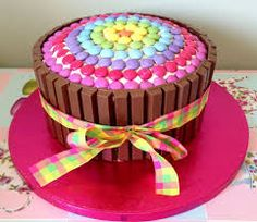 Smarties and kit kat cake. Candy Cakes, Cupcake Cakes, Smarties Cake, Birthday Cake Girls, Birthday Ideas, Diy Cake, Occasion Cakes, Cute Cakes, Creative Cakes