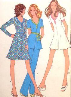"UC Vtg 1970s McCall 3211 Sew Pattern Retro Knit Dress Tunic Mini Dress 36"" Pants"