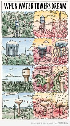 When water towers dream...(As a young child, I was afraid they could walk around at night.)