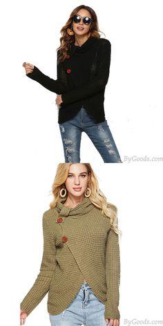 Pull en tricot de laine à col haut irrégulier à manches longues pour femmes uniques #sweater Fall Sweaters, Cute Sweaters, Cardigan Sweaters For Women, Girls Sweaters, Ugly Sweater, Long Sweaters, Cardigans For Women, Sweater Cardigan, Cheap Cardigans