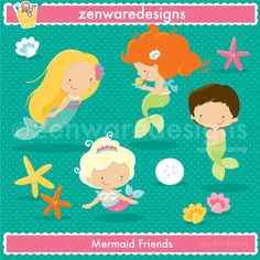 Little Mermaid icons for the perfect pool or under the sea themed  party! This set is perfect for      party  invitations, gift bags and  more! The simple lines   are   great     for  embroidery as well!