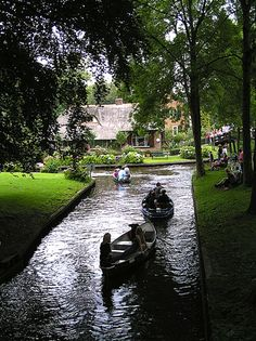 "A village in Holland with no roads. Giethoorn, Netherlands.  Visitors are always welcomed and encouraged to rent an electric and noiseless ""whisper boat"" to explore this little piece of heaven on earth."