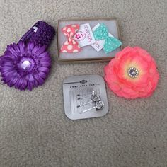 Bundle of Little Girl accessories All brand new. Hot pink flower clip, purple flower clip, purple headband, Charlotte Russe 4 pack studded clips, 2 pack bow Bobby pins. Would look adorable in little girls hair! Accessories Hair Accessories