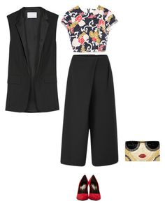 Culotte and High red heels by solespejismo on Polyvore featuring polyvore, fashion, style, Zara, Alexander Wang, Cameo, Yves Saint Laurent and Alice + Olivia