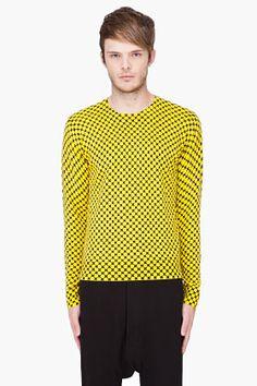 KENZO Yellow Cashmere Cross Print Sweater