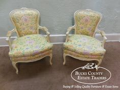 Vintage French Louis XV Style Pair of Painted Frame Fauteuil Open Arm Chairs   eBay - $895