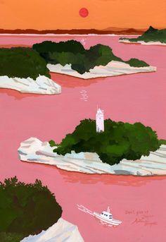 lukisan lukisan pemandangan sawah indah - my ely Japanese Illustration, Illustration Art, Posca Art, Art Abstrait, Japanese Artists, Oeuvre D'art, Graphic Design Art, Art Inspo, Illustrations Posters