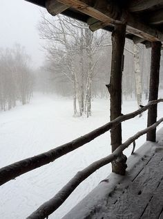 Happiness is a quiet day in the snowy mountains.