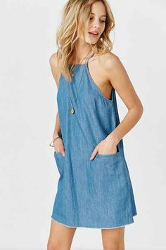 BDG High-Neck Chambray Shift Dress, $69, sale $55.20, sleeveless, frayed raw hem   Urban Outfitters
