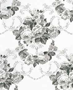 Wharton (P506/06) - Designers Guild Wallpapers - A new DG classic, pencil shaded roses in simple monochrome, black and white Please ask for sample for true colour match.