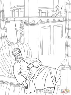 Solomon Asks for Wisdom coloring page | SuperColoring.com