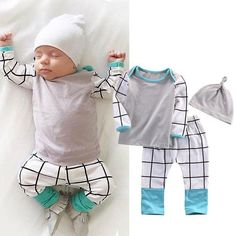 This cute set is made of a long sleeve t-shirt + long pants + hat. It is extremely soft and comfy and can be used as a pyjama or any kind of activity. Material: Cotton,PolyesterSizes: from 0 to 18 months