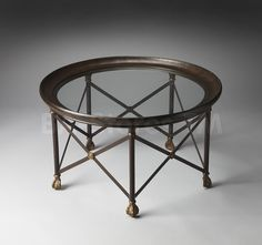 Metalworks Round  Accent Table with Glass Top