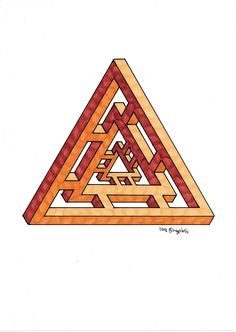 #impossible #penrose #triangle #hexag #isometric #geometry #symmetry #handmade #mathart #regolo54 #escher #oscareutersvärd