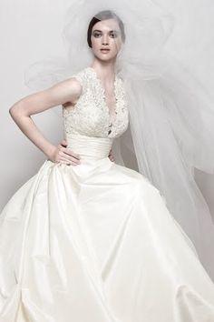 Satinlace Empire Sleeveless Pleated V Neck Full Back Ball Gown Court Train Wedding Dress