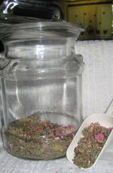 Blending Tea  Flowery note:Violets, chamomile, calendula or wild rose 1 part  Place holder:Dried red raspberry leaves or nettles 2 parts  /Fruit:Rosehips or Hibiscus flowers 1 part   Cooling Herb: Mint or Borage
