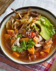 Mexican Chicken Soup is a perfect weeknight dinner. Full of tender shredded chicken and tasty sweet potato, this soup is warming and unique!